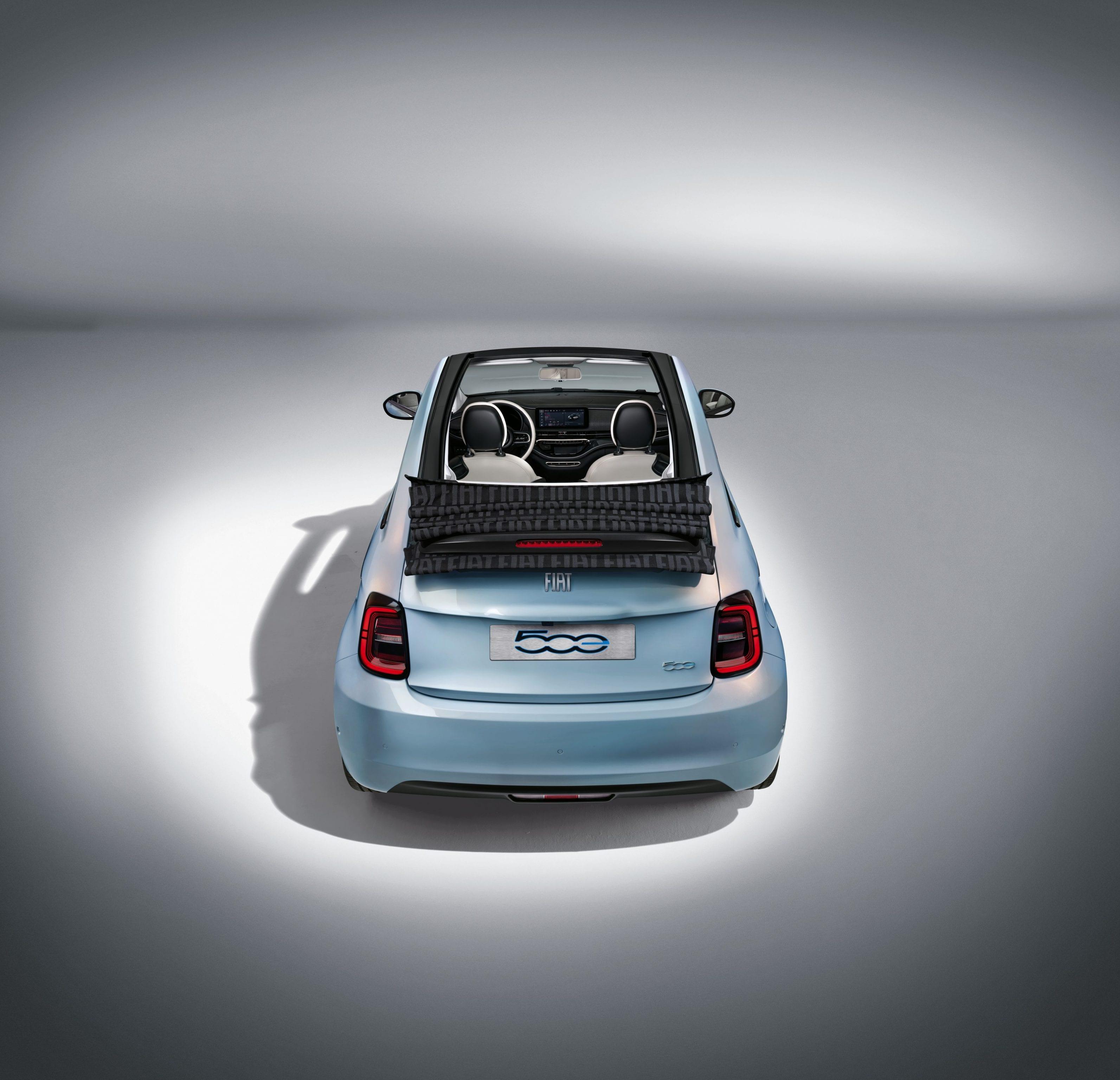 New Fiat 500e - achterkant - Celestial Blue