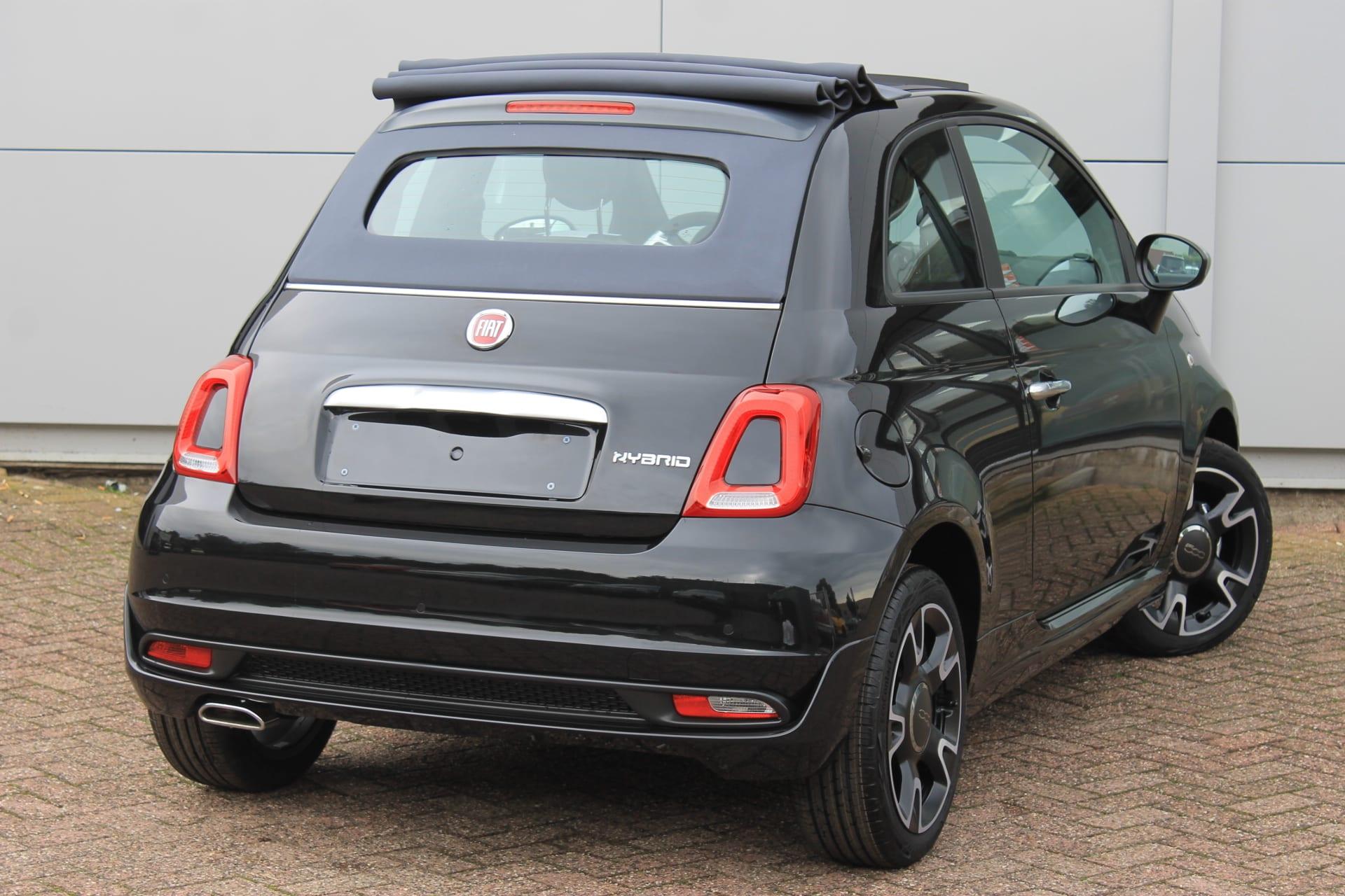 Fiat 500C Hybrid Rockstar zwart - achterkant