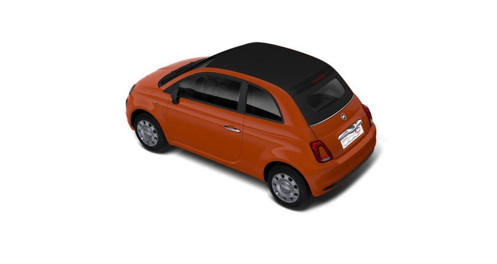 Fiat 500c cult oranje - schuin bovenkant