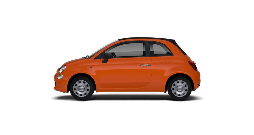 Fiat 500c cult oranje - zijkant