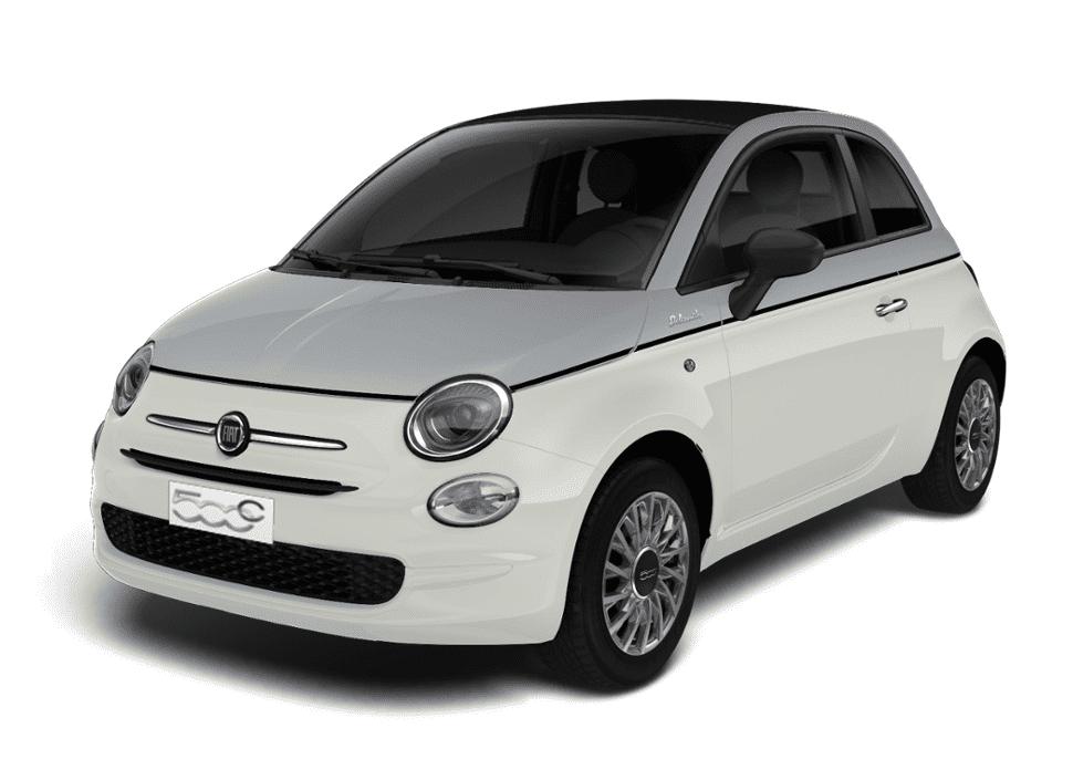 Fiat 500c dolcevita bicolore - schuin voorkant