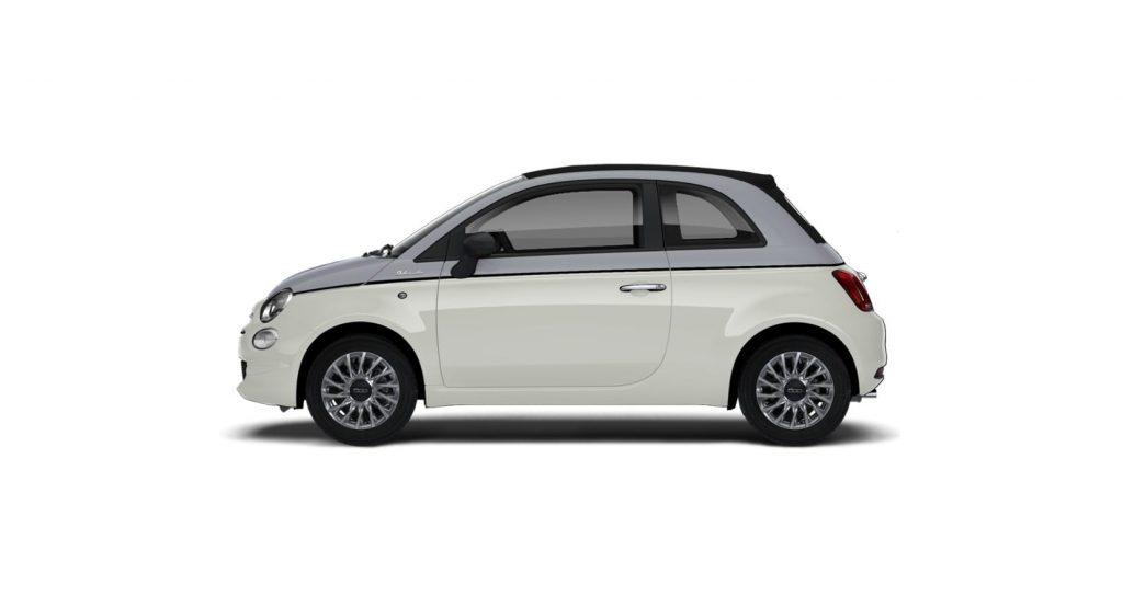 Fiat 500c dolcevita bicolore - zijkant