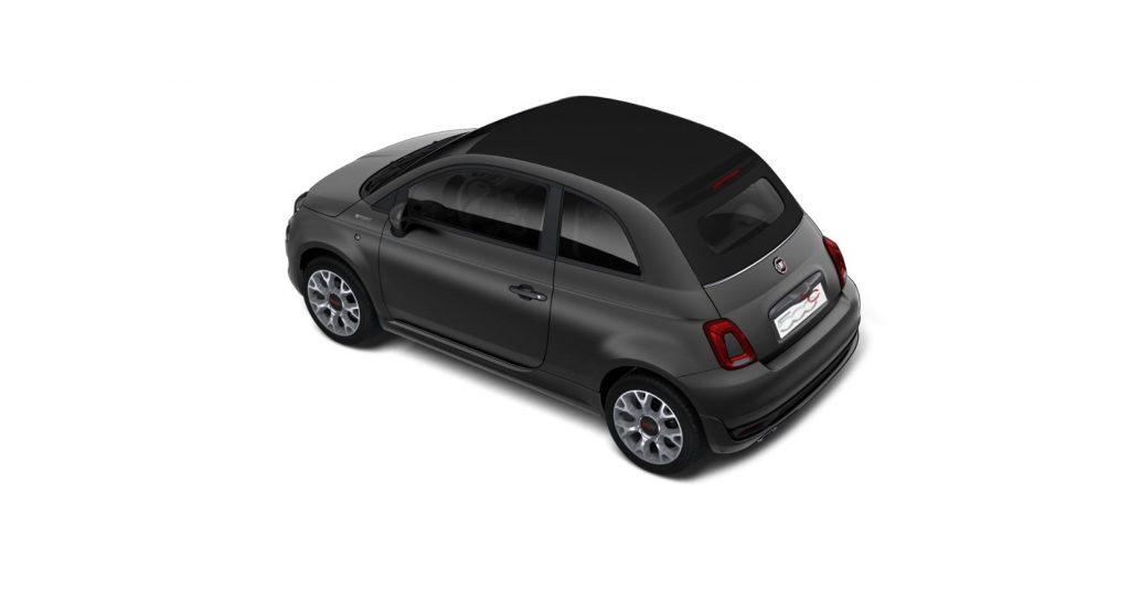 Fiat 500c sport matgrijs - schuin bovenkant