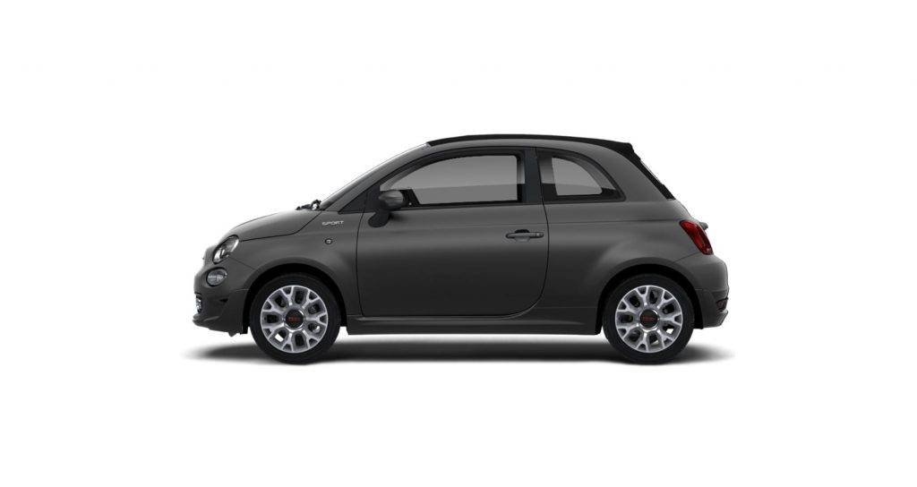 Fiat 500c sport matgrijs - zijkant